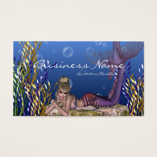 Under the Sea Blonde Mermaid Business Cards