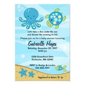 "Under the Sea Blue Baby Shower Invitations 5"" X 7"" Invitation Card"