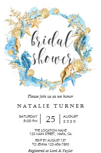 Coral and blue bridal shower invitations zazzle under the sea blue gold bridal shower invitation filmwisefo
