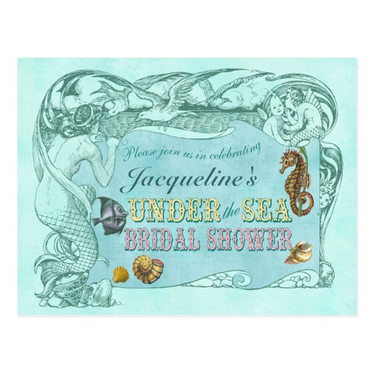 Under the Sea Bridal Shower Invitation Postcard