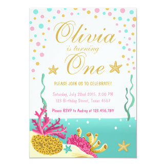 Under the sea coral reef birthday invitation