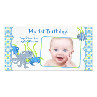 Under the Sea Critters Boy 1st Birthday Photocard Customised Photo Card