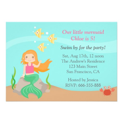 Under the Sea, Cute Mermaid Girl Birthday Party Personalized Invite