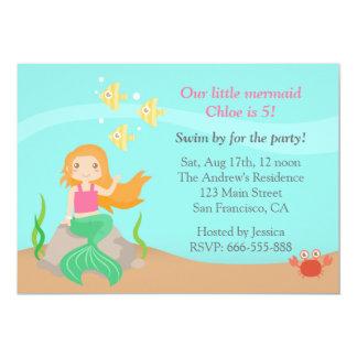 Under the Sea, Cute Mermaid Girl Birthday Party 5x7 Paper Invitation Card