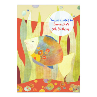Under the Sea Flower Fish Birthday Party Card