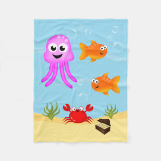 Under The Sea, Fun Characters Fleece Blanket