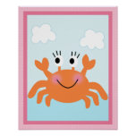 Under the Sea/Girl/Crab/Pink Art Poster
