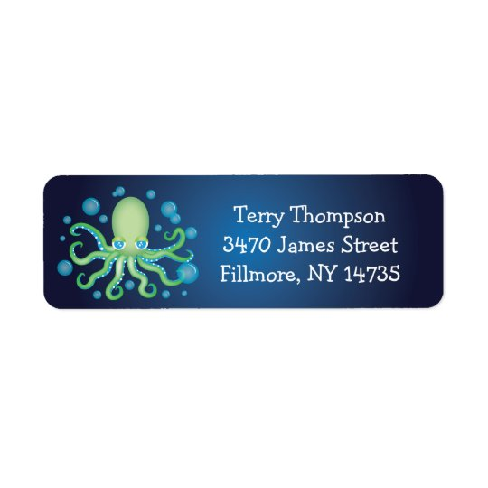 Under the Sea Green Octopus Address Labels