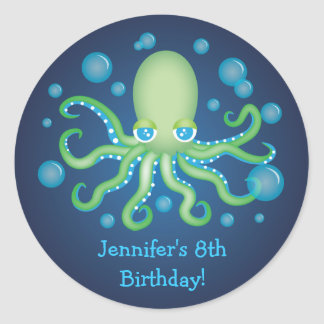 Under the Sea Green Octopus Birthday Stickers