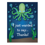 Under the Sea Green Octopus Thank You Postcard