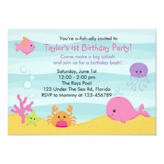 Under The Sea Invitation (Girl) - Whale Fish Crab