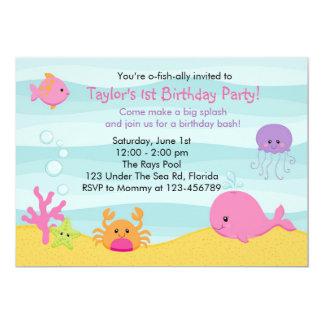 """Under The Sea Invitation (Girl) - Whale Fish Crab 5"""" X 7"""" Invitation Card"""