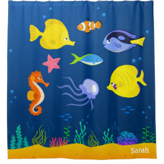 Under the Sea Jellyfish Seahorse Starfish Seaweed Shower Curtain