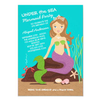 Under the Sea Mermaid Birthday Party Invitation