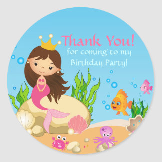 Under the Sea Mermaid Birthday Party Sticker