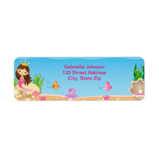 Under the Sea Mermaid Birthday Return Label Return Address Label
