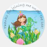 Under the Sea Mermaid Birthday Thank You Round Sticker
