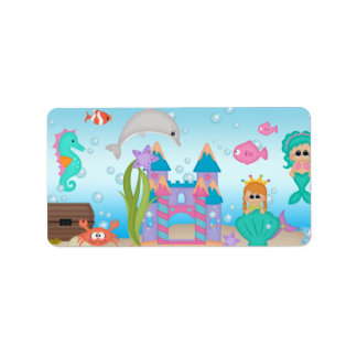 Under the Sea Mermaid Fish Bubbles Treasure Label