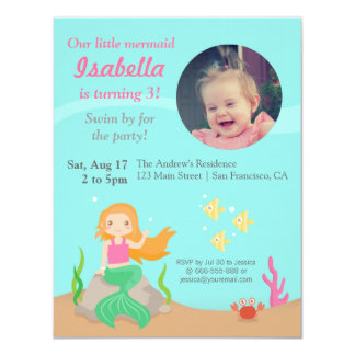 Under the Sea,Mermaid Girl Birthday Party Photo Card