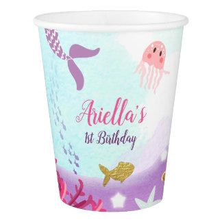 Under The Sea Mermaid Paper birthday Pink Gold Paper Cup