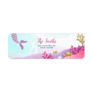 Under The Sea Mermaid Return Address Label Pink
