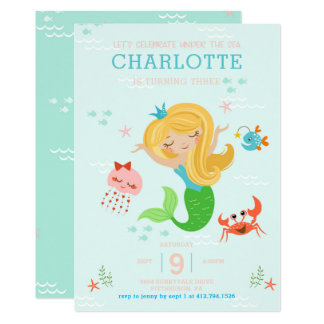 Under the Sea Mermaid with Blonde Hair Kids Card