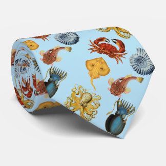 under the sea octopus, shells, crab. Aqua blue Tie
