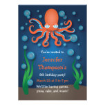 Under the Sea Orange Octopus Birthday Invitations