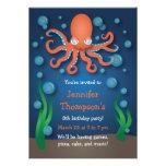 Under the Sea Orange Octopus Birthday Invitations