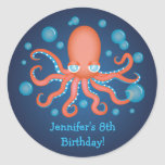 Under the Sea Orange Octopus Birthday Stickers