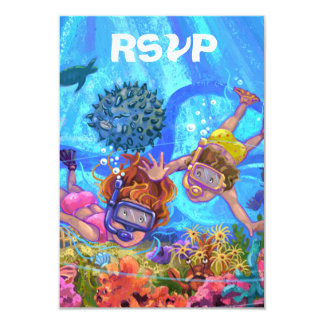 Under the Sea Party RSVP Card 9 Cm X 13 Cm Invitation Card