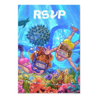 Under the Sea Party RSVP Card 9 Cm X 13 Cm Invitation Card