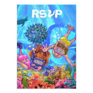 Under the Sea Party RSVP Card Personalised Invite