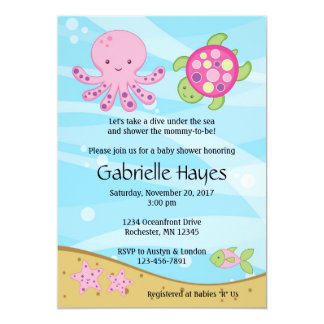 """Under the Sea Pink Baby Shower Invitations 5"""" X 7"""" Invitation Card"""