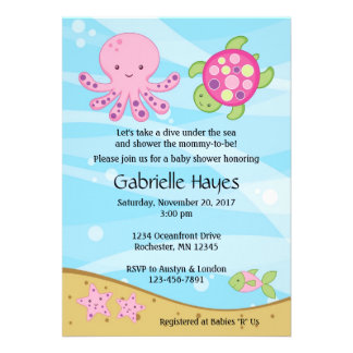 Under the Sea Pink Baby Shower Invitations
