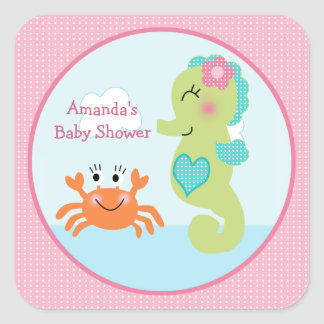 Under the Sea/Pink/Girl Stickers/Envelope Seals Square Sticker