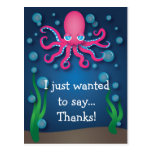 Under the Sea Pink Octopus Thank You Postcard