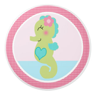 Under the Sea Pink Seahorse Drawer Pull Knob