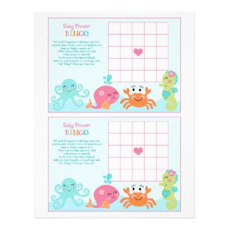 """Under the Sea/Pink Whale """"Baby Shower Bingo"""" sheet 21.5 Cm X 28 Cm Flyer"""