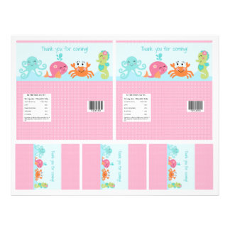Under the Sea/Pink Whale Candy Bar Labels 2 sizes 21.5 Cm X 28 Cm Flyer