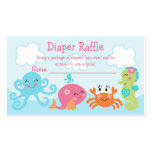 Under the Sea/Pink Whale Diaper Raffle Tickets Business Card Templates