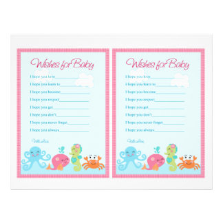 """Under the Sea/Pink Whale """"Wishes for Baby"""" notes 21.5 Cm X 28 Cm Flyer"""