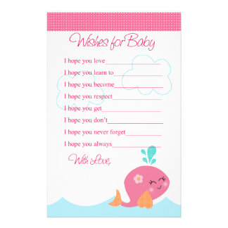 Under the Sea Pink Whale Wishes for Baby Shower Stationery