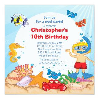 Under the Sea Pool Party Birthday Invitation boy