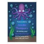 Under the Sea Purple Octopus Birthday Invitations