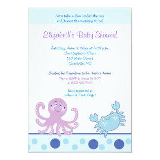 Under the Sea Purple Octopus & Crab 5x7 Invitation