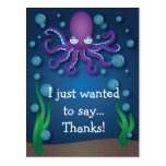 Under the Sea Purple Octopus Thank You Postcard