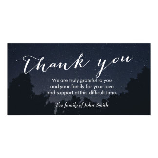 Under the Stars After Funeral Memorial Thank You Personalized Photo Card