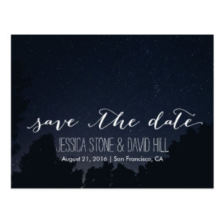 Under the Stars Elegant Wedding Save the Date Postcard
