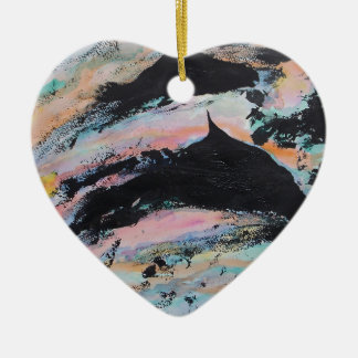 Under the waves ceramic heart decoration